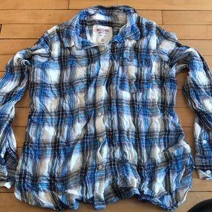 Plaid button down Mossimo XL shirt like new